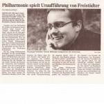 Philharmonie spielt Uraufführung von Freistädter